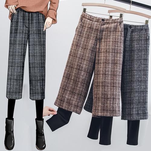 11 L-4XL 大碼 加絨格子毛呢收腳七分褲(2色)