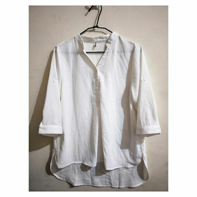 <簡單俐落>長版v領造型白襯衫