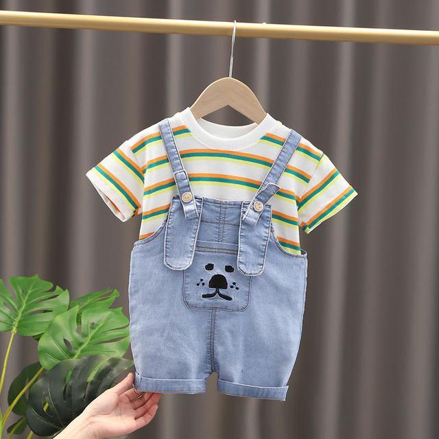 女寶寶夏裝網紅背帶褲套裝韓版短袖洋氣嬰兒夏季小童牛仔兩件套潮