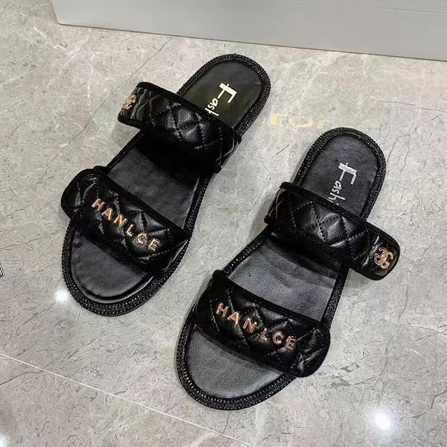 小香風拖鞋女夏網紅外穿2020新款百搭時尚輕平底防滑休閒涼拖