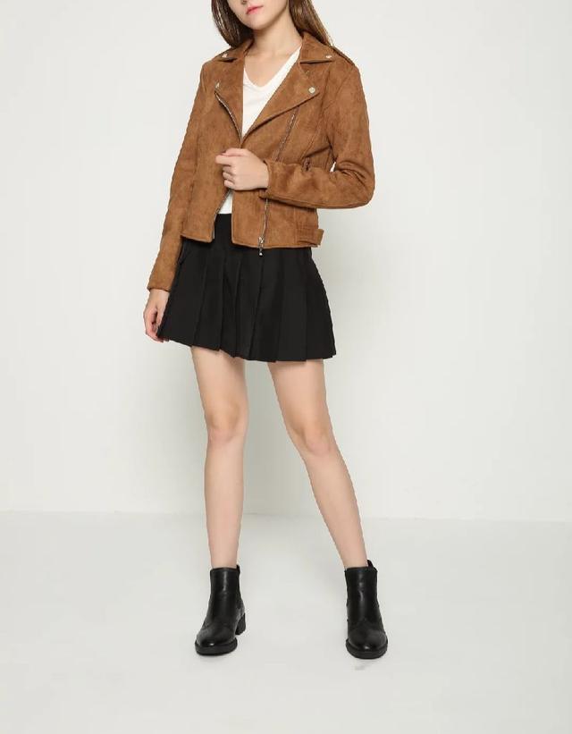 💐預購💐时尚百搭長袖短款麂皮绒皮外套