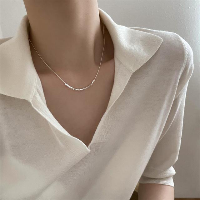 鏤空小方塊時尚個性925純銀項鏈女小眾設計感韓版IG氣質鎖骨鏈子