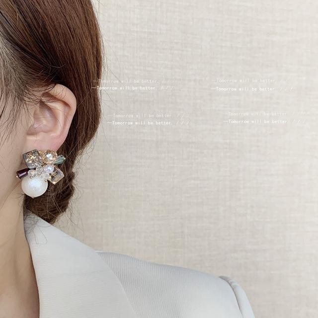 法式復古手作設計感925銀針複雜高級感耳釘誇張耳飾 珍珠水晶耳環
