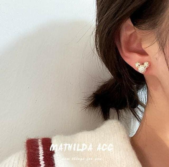 (預購S) H074 - 韓國925銀針滿鑽米奇耳環