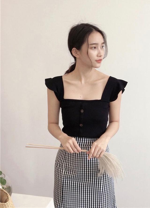夏季韓版針織一字領露肩上衣