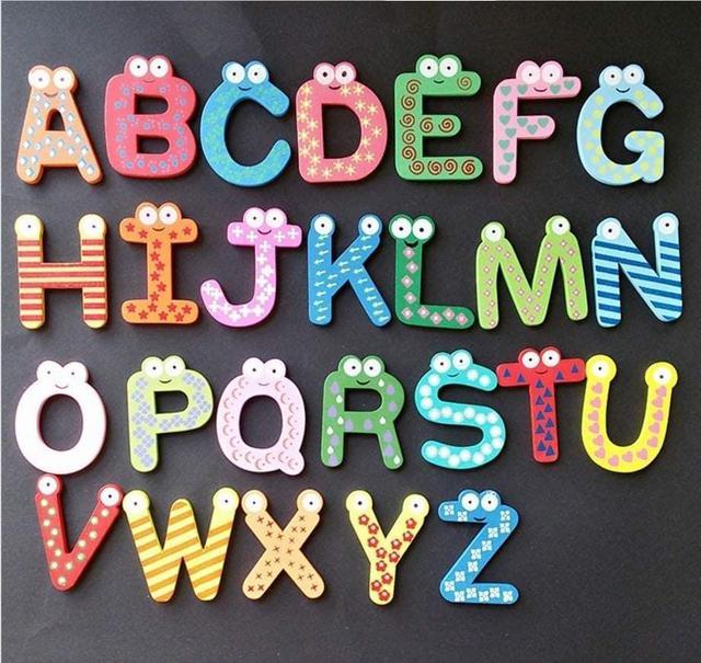 (預購S) G831 - 創意木質眼睛款英文字母磁鐵貼26入