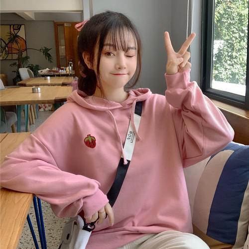 11 流行款 M-XL 韓版 加絨刺繡草莓連帽衛衣