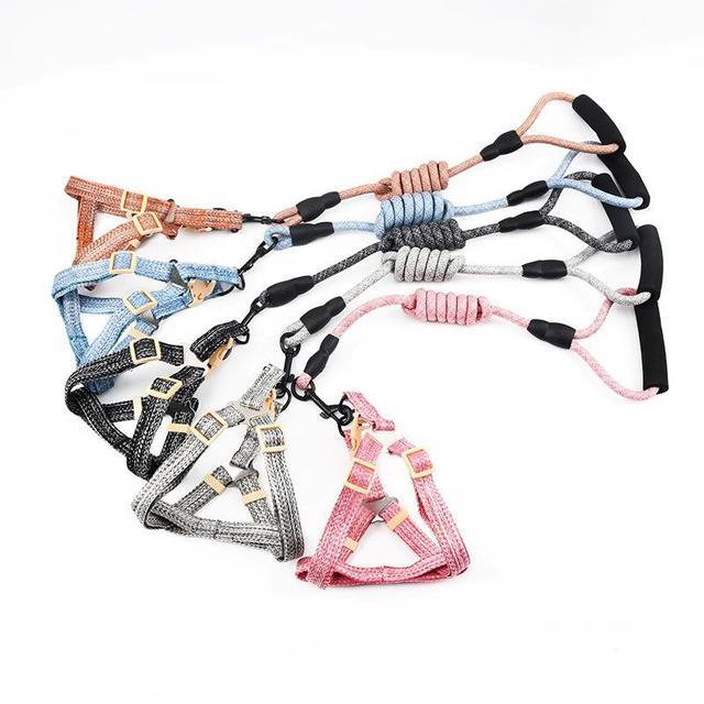 QY125-新款寵物用品 泡棉手柄莫蘭迪亞麻圓繩胸背牽引帶 狗狗寵物牽引繩