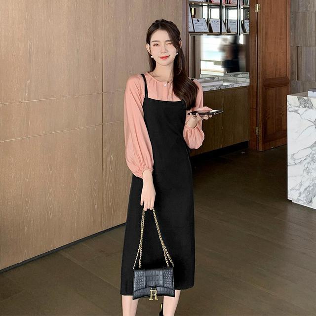 2021年新款潮大碼網红氣質兩件套装吊带連衣裙(F廠)