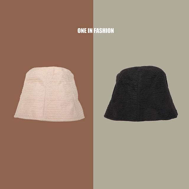 日系小众风褶皱水桶帽防晒渔夫帽