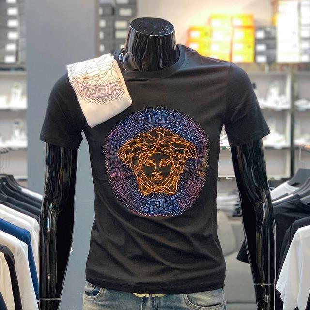 美人頭燙鑽短袖T恤純棉大碼短袖T恤男潮牌燙鑽修身t恤