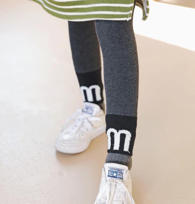 11 加絨拼接字母羅紋褲(2色) 8764