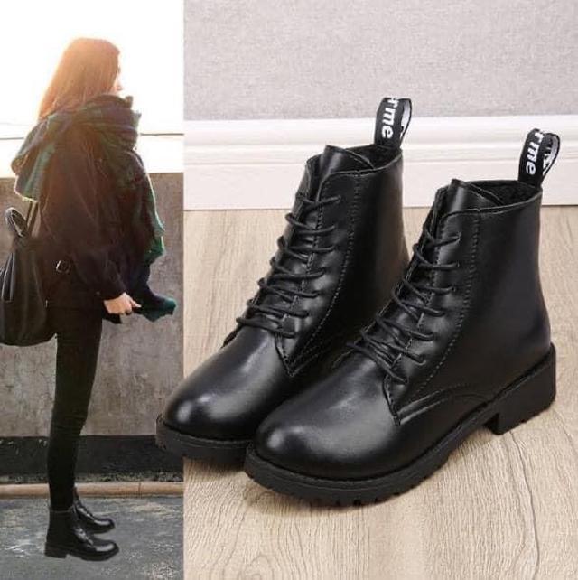 綁帶造型厚底馬丁靴鞋