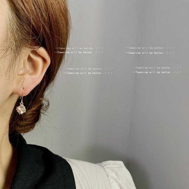 鍍14k幾何鋯石吊墜耳環女韓國東大門時尚氣質設計感耳釘耳飾