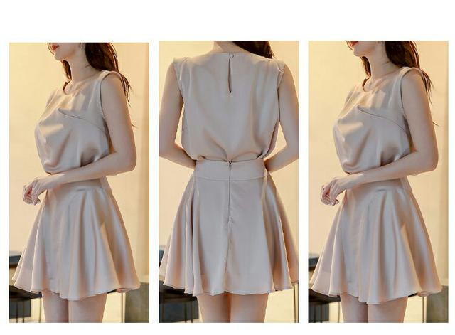 預購氣質抽褶上衣散擺短裙兩件套