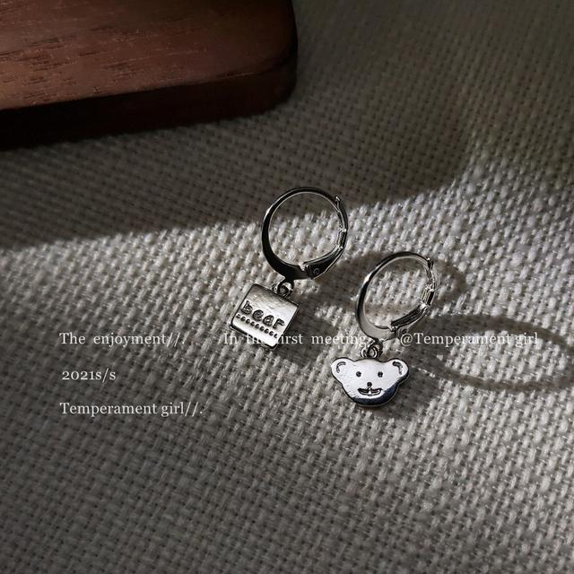 冷淡風不對稱設計感銀色小熊耳圈耳扣款耳飾工廠日韓IG耳環個性