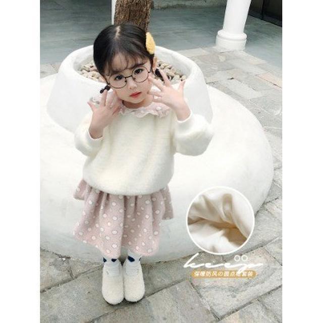 預購:女童加绒加厚套装秋冬兩件套洋裝(豆)