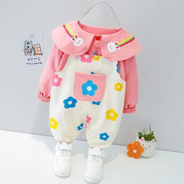 KD115-2 韓版花朵兔兔吊帶褲套裝
