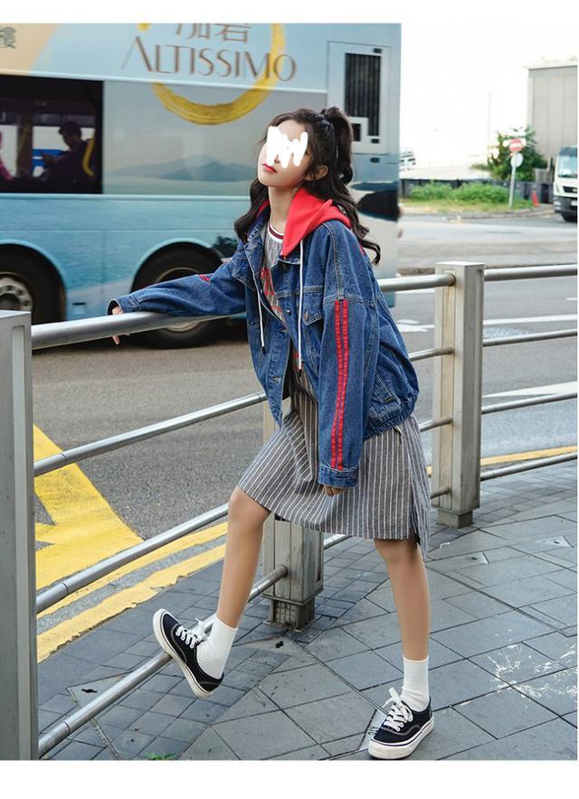 11 S-L 2019秋冬港風連帽可拆牛仔外套(兩色