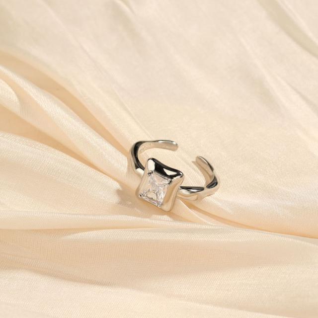 S925純銀水晶鋯石厚銀黑酷少女配飾 開口可調節冷淡風指環女