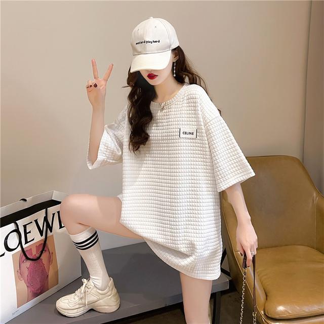 32187 ● 寬鬆韓版中長款短袖T恤
