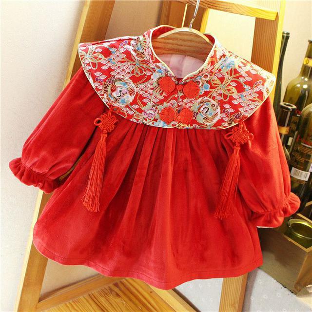 女童連衣裙秋冬禮服女孩加絨洋氣公主裙子嬰兒寶寶周歲中國風年服-A9506