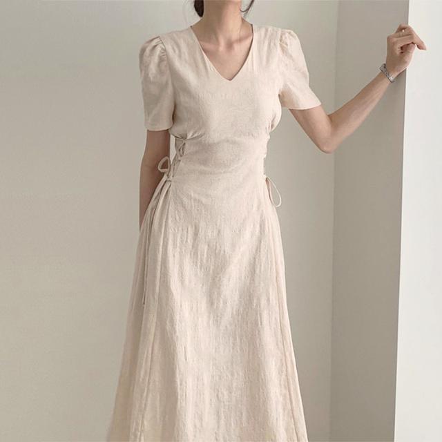 韩国chic氣質法式花纹V领修身顯瘦收腰側邊绑带中長款連衣裙(c)