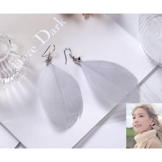 靈魂之翼耳環♥銀灰 現貨 韓國女星-太妍同款的羽毛耳環