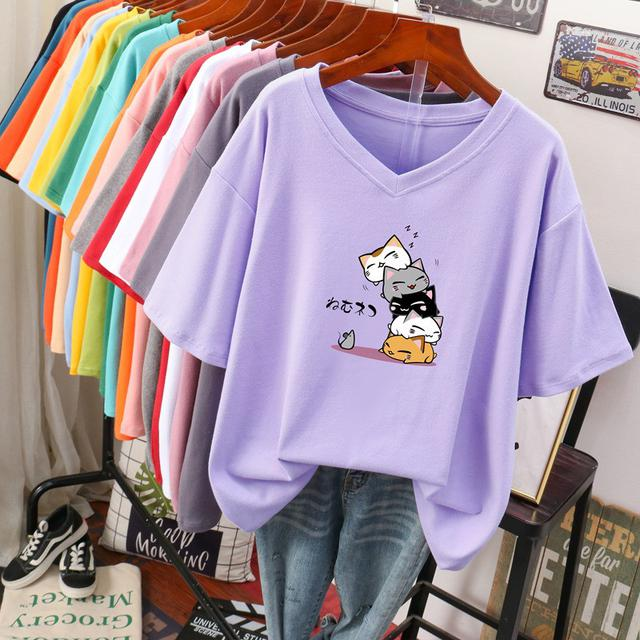 預購夏季韓版寬鬆顯瘦遮肚V领上衣上衣