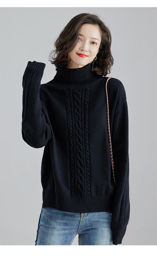 秋冬時尚慵懶風高領寬鬆長袖針織毛衣女/新款套頭麻花外穿開叉顯年輕上衣