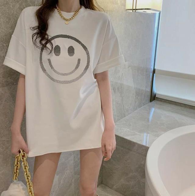 (預購s+) D017-韓版笑臉寛鬆中長款上衣