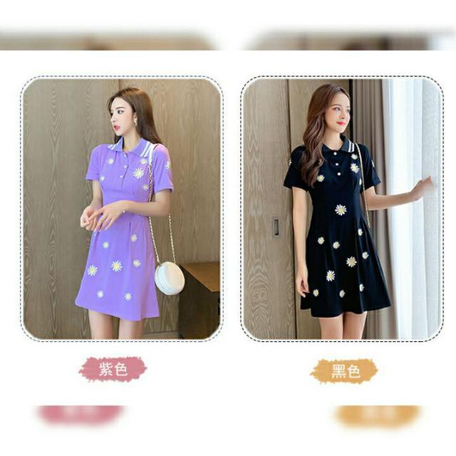 預購6-9天到貨新款優雅雛菊修身短袖連衣裙