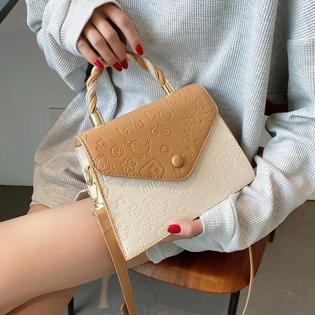 預購🦊 新款潮時尚斜挎包夏天撞色手提小方包