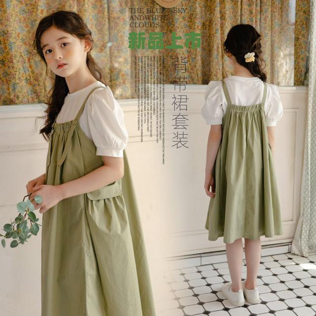 韓版女童2021新款休閒風短袖背帶裙潮流兒童赫本風格背帶兩件套潮