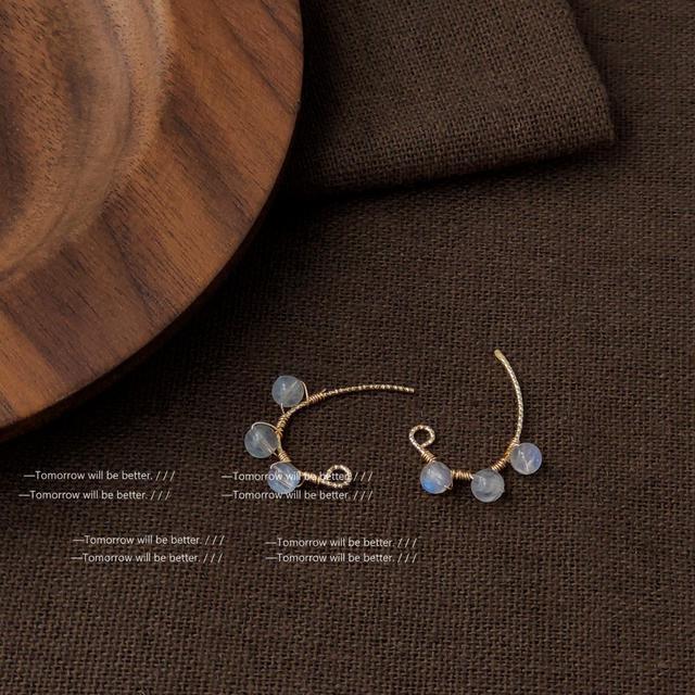 月光石~鍍14K手作設計感創意個性藝術耳飾IG日韓高級感耳環