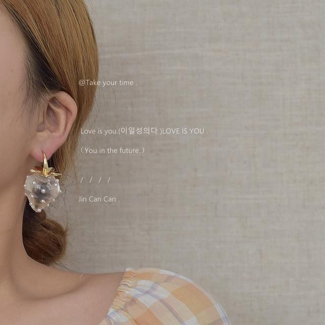 透明草莓耳環~水晶珍珠高級感甜美2021新款潮耳釘女小眾設計耳飾