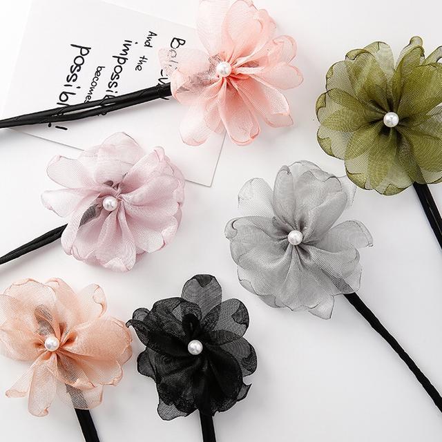 韓版流行珍珠花朵懶人盤髮器
