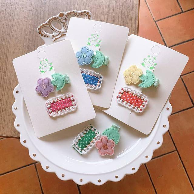 【現貨】花朵+蕾絲波點髮夾(2件組)
