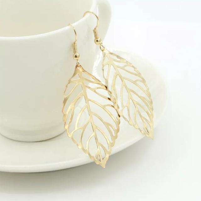 【預購】時尚簡約森系金屬樹葉耳環