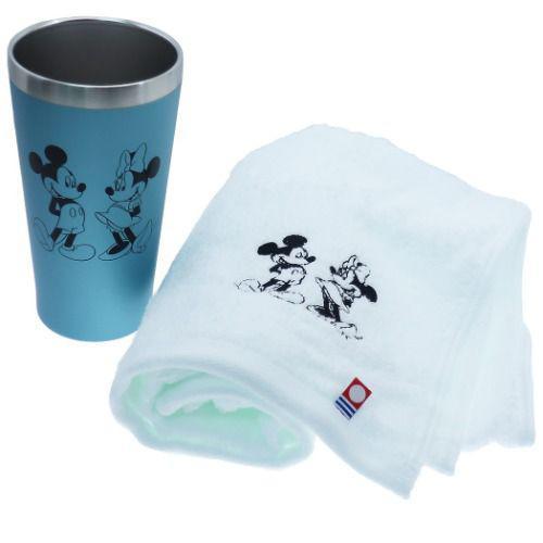 米奇米妮 保溫杯毛巾組 藍