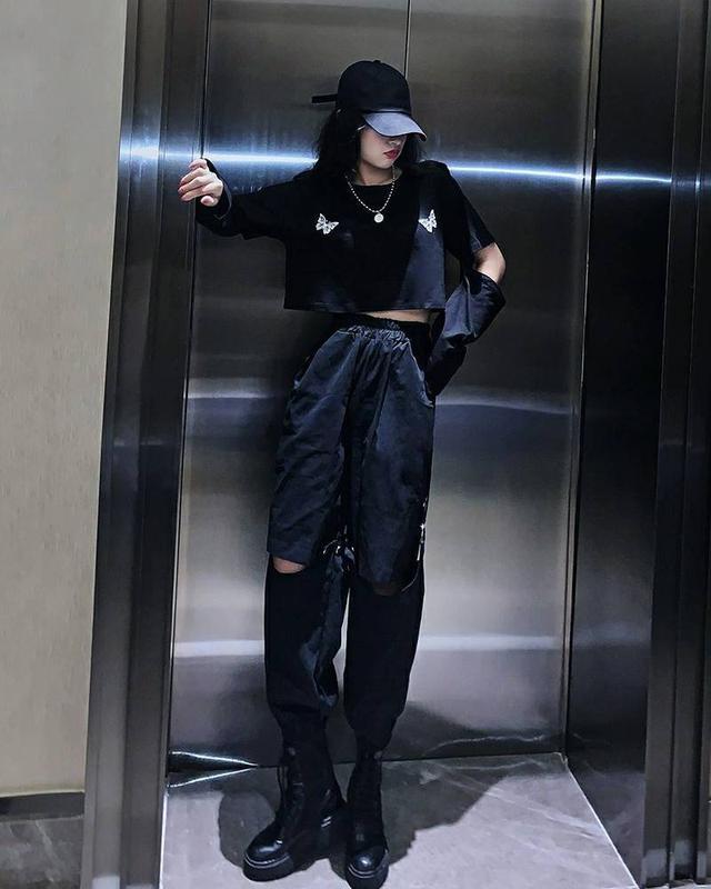 網紅兩穿可拆卸嘻哈帥氣工裝套裝