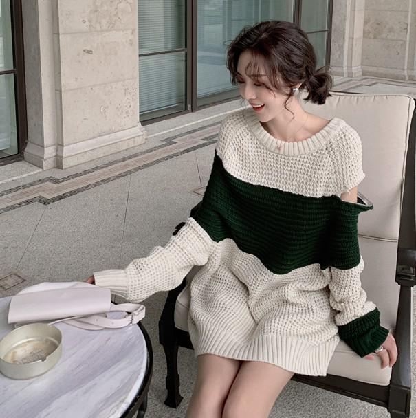 A 12/4 S-M 法式撞色針織連衣裙