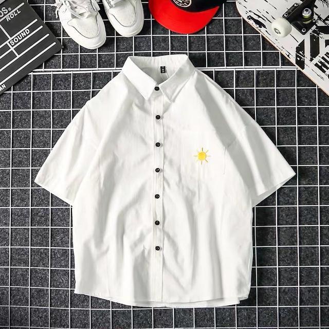日系原宿港風文藝格子襯衫五分袖襯衫