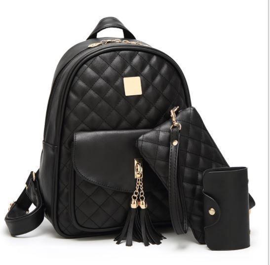 (預購e) 小香菱格風背包手拿包零錢包三件套
