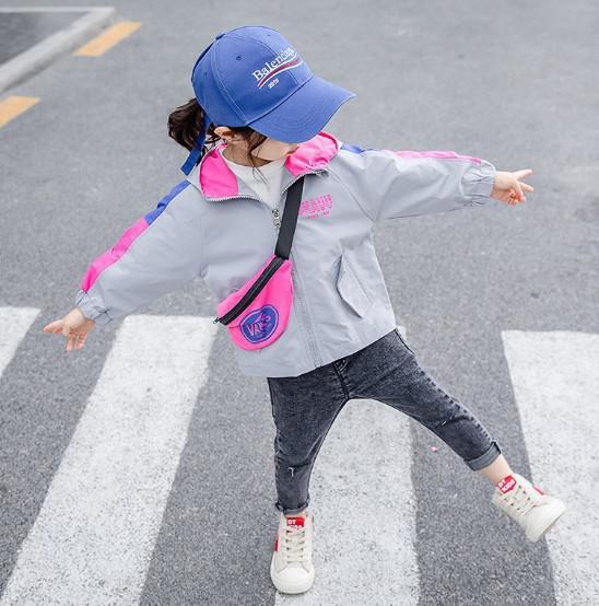 11 90-130 韓國小童裝 拼色連帽風衣2091