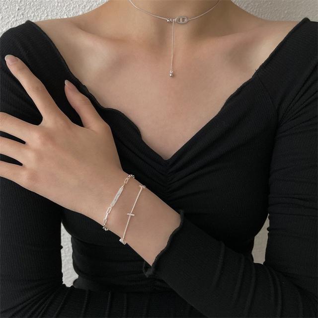 925純銀簡約橫牌手鏈個性潮流女生韓版IG冷淡風小眾精緻拼接飾品