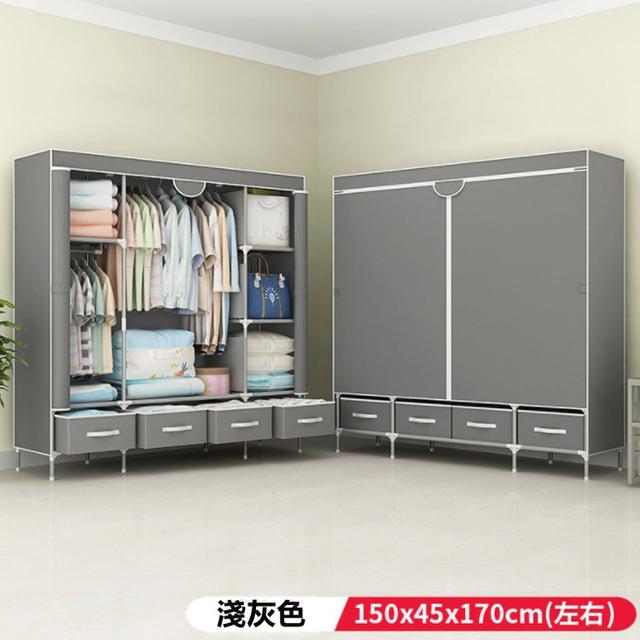 簡易布衣櫃 鋼管加粗 組裝簡約現代經濟型加厚雙人衣櫃