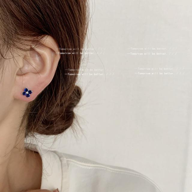 迷你版!925銀針藍色鋯石小花耳釘女日常款小巧耳飾清新耳環日韓