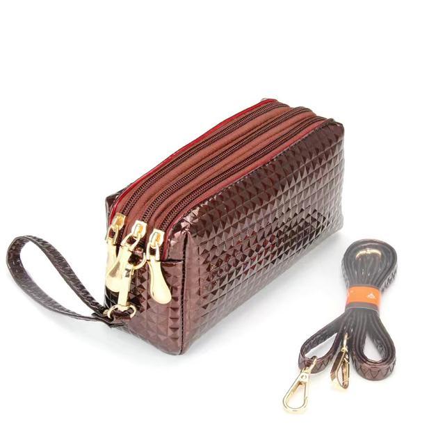 三層零錢小包斜挎包夏天逛街手機包三層多袋零錢小包簡單女士手拿包硬幣包