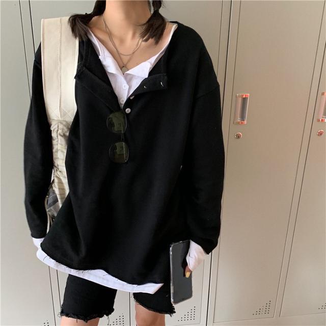 🌈簡約設計假兩件潮女寬鬆上衣